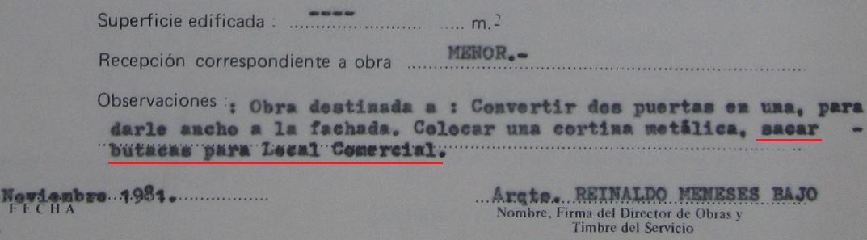 Fragmento certificado de recepción Dirección de Obras, Valparaíso 1981